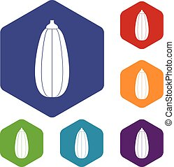 Zucchini vegetable icons set rhombus in different colors...