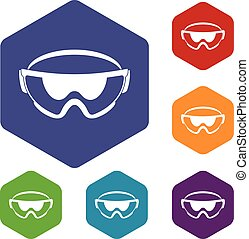 Safety glasses icons set rhombus in different colors...