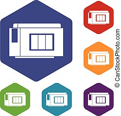 Inkjet printer cartridge icons set