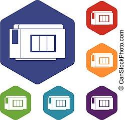 Inkjet printer cartridge icons set