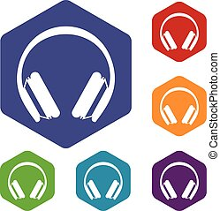 Protective headphones icons set rhombus in different colors...