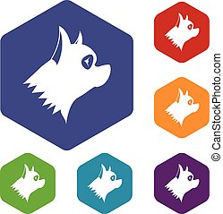 Pinscher dog icons set rhombus in different colors isolated...