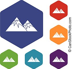 Swiss alps icons set rhombus in different colors isolated on...
