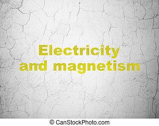 elettricità, scienza, parete, magnetismo, fondo,  concept: