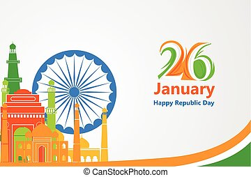 Famous monument in Indian background for Happy Republic Day...