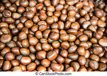 Chestnut harvest, spread out to dry