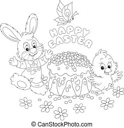 Easter greeting card - A small rabbit, a chicken and a...