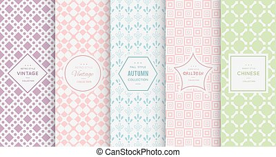 Pastel retro different vector seamless patterns - Retro...