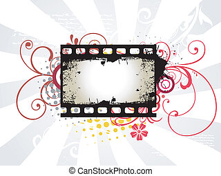 Photo reel vector art - vector art of photo reel with arrow...