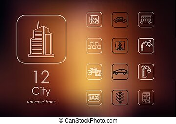 Set of city icons - city modern icons for mobile interface...