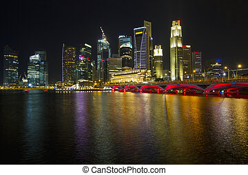 Singapore City Skyline at Night 2