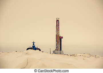 Oil rig and wellhead in the oilfiled