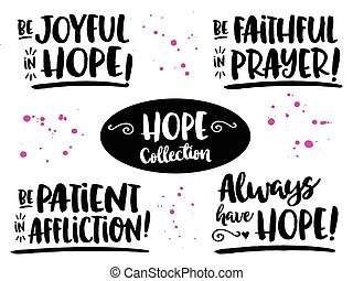 "Hope Bible Scripture Phrases Collection from Romans, ""Be..."