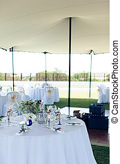 Decorated wedding table under a tent on  park