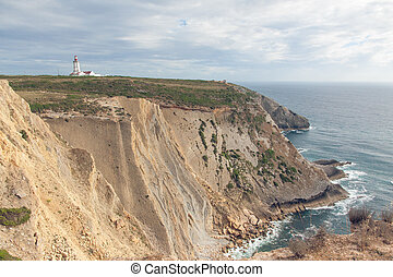 The lighthouse on a cliff near the ocean - The lighthouse on...