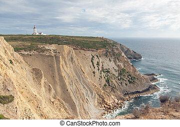 The lighthouse on a cliff near the ocean - The lighthouse on...