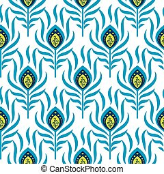 Peacock blue and green seamless vector pattern. Peafowl bird...