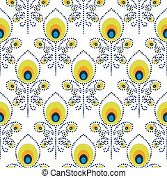 Peacock blue and green seamless vector pattern. Peafowl...