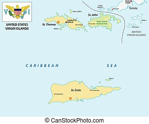 United States Virgin Islands map with flag - United States...