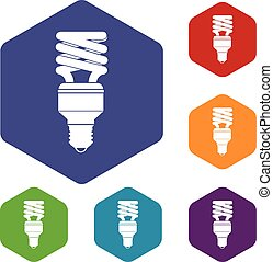 Energy saving bulb icons set rhombus in different colors...