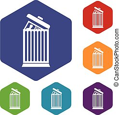 Resume thrown away in the trash can icons set rhombus in...