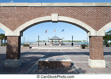 Key West Mallory Square - The view through the arch of...