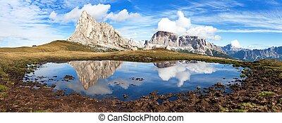 View from passo Giau, mountain lake, Dolomites mountains -...