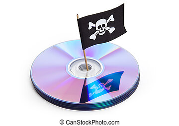 Piracy - CD, DVD and Pirate Flag, concept of Piracy
