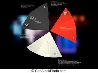 infographic, mal, ineengevouwen, drie, illustratie, Kleuren, Papier, gevarieerd, Bladen
