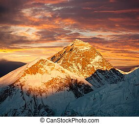 Evening colored view of Mount Everest from Kala Patthar -...