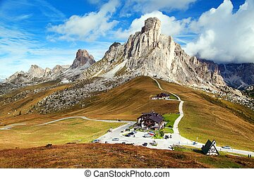 Passo Giau near Cortina d Ampezzo and mout Ra Gusela and...