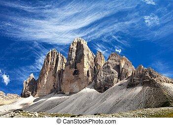 Drei Zinnen or Tre Cime di Lavaredo with beautiful cloud -...