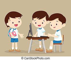 estudiantes, computadora, trabajando