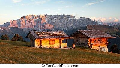 two small cabin and Sella Gruppe or Gruppo di Sella -...