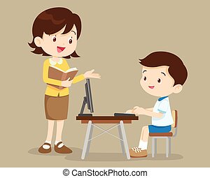 teacher and student boy learning computer