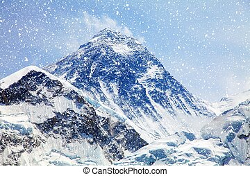 Mount Everest with snowfall from Kala Patthar - Mount...