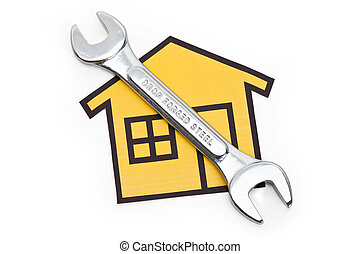 Home Repairing - Stainless Steel Wrench, Concept of Home...