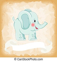 Baby elephant blue on old vintage background - Scalable...