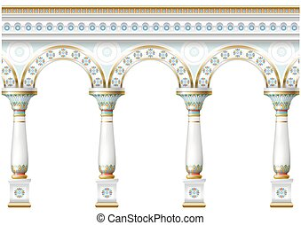 Facade with ornament - Fabulous ancient arch facade in the...