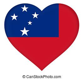 corazón, bandera,  Samoa