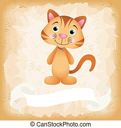 Cute cat on old vintage background - Scalable vectorial...