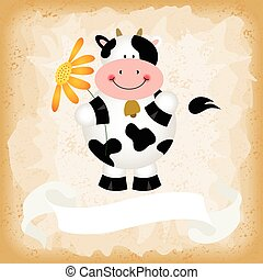 Cute cow on old vintage background - Scalable vectorial...