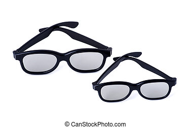 3D glasses adults and children on a white background...