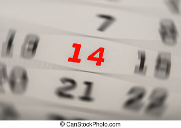 February 14th - calendar with red mark on 14 February