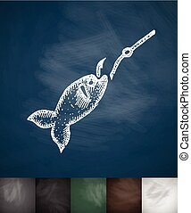 fish on the hook icon. Hand drawn vector illustration....
