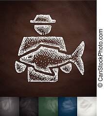 man with fish icon. Hand drawn vector illustration....