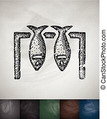 fish icon. Hand drawn vector illustration. Chalkboard Design