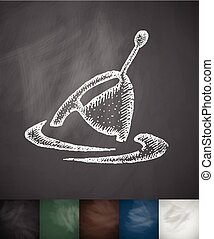 float icon. Hand drawn vector illustration. Chalkboard...