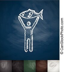 fisherman icon. Hand drawn vector illustration. Chalkboard...