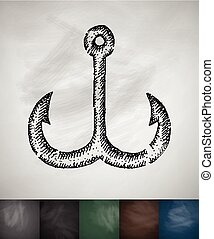 hook icon. Hand drawn vector illustration. Chalkboard Design